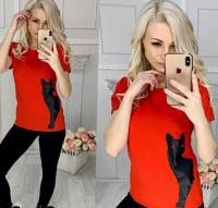 Футболка чёрная кошка сбоку red IN