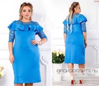 Платье SIZE PLUS кружево волан голубое KH