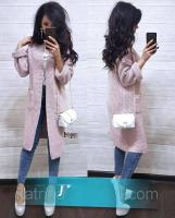 Кардиган в рубчик с карманами пудрово-розовый DUN