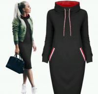 Спортивное платье черное двухнить H109