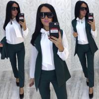 Костюм тройка жакет, брюки и блуза зеленый RH