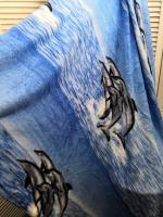 Мягкий пледик дельфины 170х250