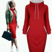 Спортивное платье красное двухнить H109