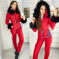 Комбинезон с мехом на рукавах и капюшоне red DIM