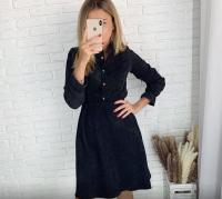 Платье вельвет пояс резинка черное ED111