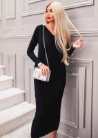 Платье креп длинное черное OP37