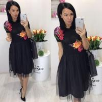 Платье миди объемные цветы с фатином black LE