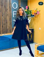 Платье SIZE PLUS рукав гипюр тем-синее N107