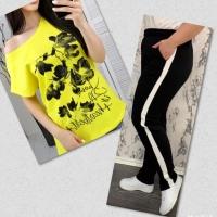 Костюм желтая футболка SIZE Plus FLOWERS с брюками черными IN