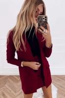 Костюм спандекс пиджак и юбка бордо K115