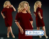 Платье SIZE PLUS вставка на плече и манжете bordo 21240 UM43