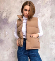 Жилет болонь с карманами каппучино ZI SV
