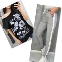 Костюм черная футболка SIZE Plus FLOWERS с брюками серыми IN
