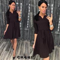 Платье в горошек шоколад RH122