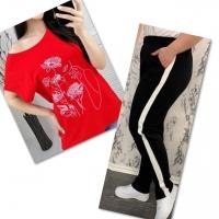 Костюм красная футболка SIZE Plus женский образ и цветы с брюками черными IN