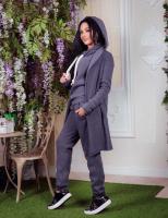 Костюм-тройка кардиган, кофта, брюки  темно-серый OP37