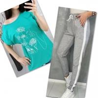 Костюм бирюза футболка SIZE Plus женский образ и цветы с брюками серыми IN