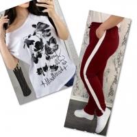 Костюм белая футболка SIZE Plus FLOWERS с брюками бордо IN