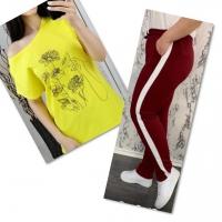 Костюм желтая футболка SIZE Plus женский образ и цветы с брюками бордо IN