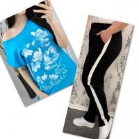 Костюм голубая футболка SIZE Plus FLOWERS с брюками черными IN