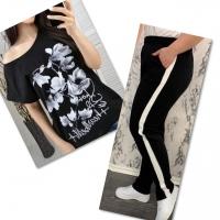Костюм черная футболка SIZE Plus FLOWERS с брюками черными IN