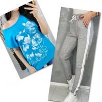 Костюм голубая футболка SIZE Plus FLOWERS с брюками серыми IN