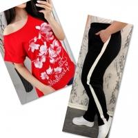 Костюм красная футболка SIZE Plus FLOWERS с брюками черными IN