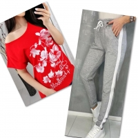 Костюм красная футболка SIZE Plus FLOWERS с брюками серыми IN