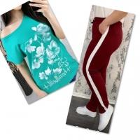 Костюм бирюза футболка SIZE Plus FLOWERS с брюками бордо IN