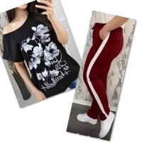 Костюм черная футболка SIZE Plus FLOWERS с брюками бордо IN