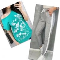 Костюм бирюза футболка SIZE Plus FLOWERS с брюками серыми IN