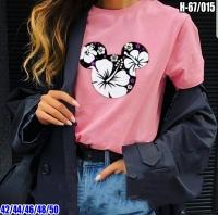 Футболка Уши Микки в цветы розовая SV