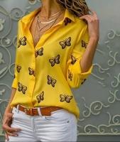 Блузка лайт 6106 бабочки желтая A133