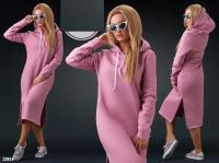 Платье миди на флисе с капюшоном пудрово-розовое KH110