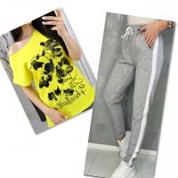 Костюм желтая футболка SIZE Plus FLOWERS с брюками серыми IN