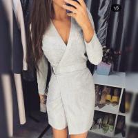 Блестящее платье на запах жемчужный люрекс K135 115