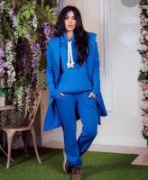 Костюм-тройка кардиган, кофта, брюки  ярко-синий OP37
