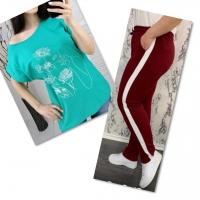 Костюм бирюза футболка SIZE Plus женский образ и цветы с брюками бордо IN