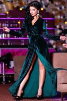 Платье длинное велюр Зелёное OP37