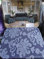 Набор жаккард-стрейч с оборкой на 3-х местные диван и 2 кресла синий