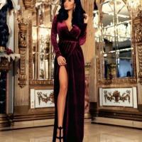 Платье длинное велюр Бордо OP37