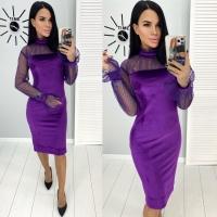 Платье велюр рукава и ворот сеточка фиолетовое Rh122
