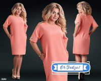 Платье SIZE PLUS вставка на плече и манжете персик 21240 UM43