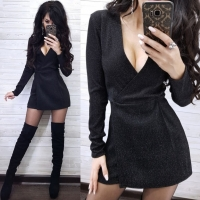 Платье-комбинезон люрекс песок черный RX1-48