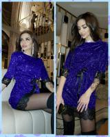 Платье люрекс с пояском гипюр по низу яр-синее KH110 O114