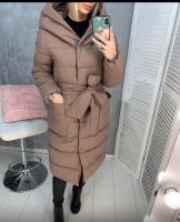 Болоневое пальто с капюшоном и пояском каппучино ZI LE 124
