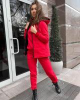 Костюм тройка утепленный жилет толстовка и брюки красный KH110