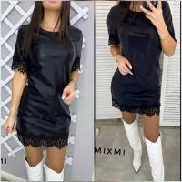 Платье низ кружево под кожу обливной трикотаж черное A116