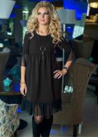 Платье креп низ и рукава фатин черное OP37