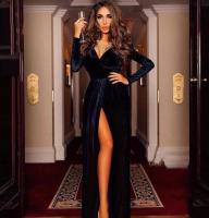 Платье длинное велюр Черное OP37